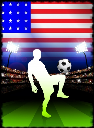 United States Soccer Player in Stadium Match