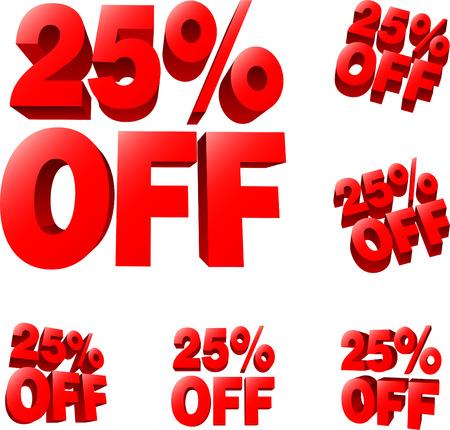 liquidation: 25% off Discount sale sign