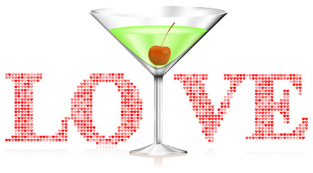couple lit: Martini Glass on Love Background