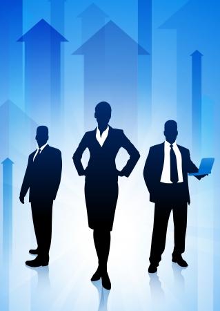 female boss: Business Team on Arrows Background Original Illustration Illustration