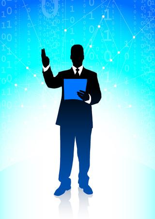 Businessman on Binary Code Background Original Illustration