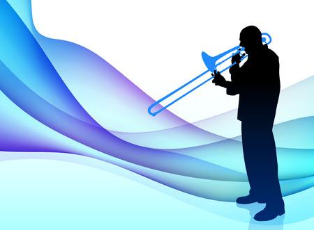 Trumpet Musician on Abstract Flowing BackgroundOriginal Illustration
