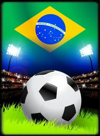 スタジアムでブラジルのサッカーの試合 オリジナル イラスト