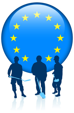 back lit: Construction with European Union Internet Button
