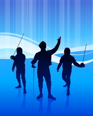 Fencing Sport on Abstract Blue Background Original Illustration