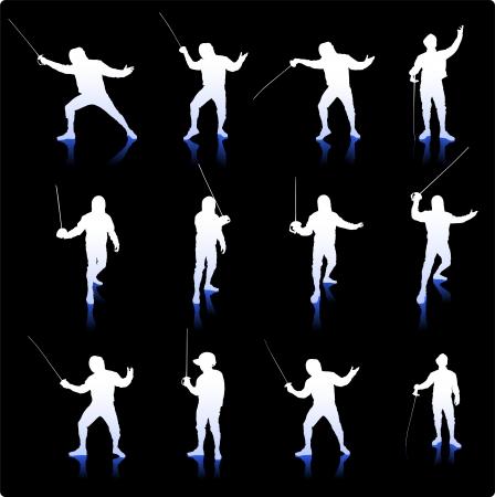Fencing Silhouette Collectiom on Simple Background Original Illustration Ilustração
