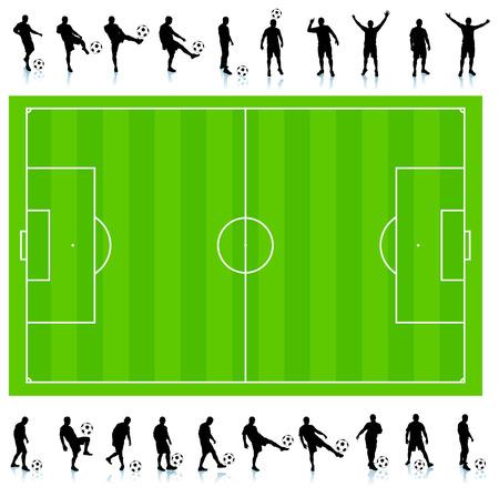 サッカー フィールド オリジナル イラスト シルエット コレクション