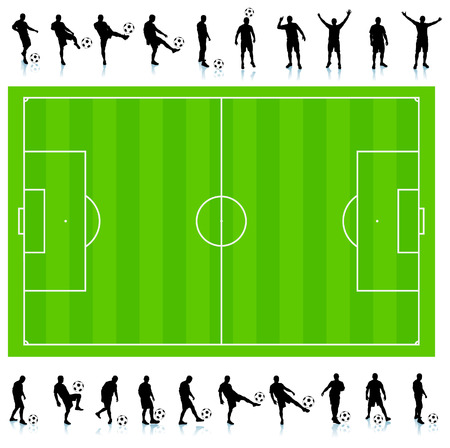 Soccer Silhouette Collection with Field Original Illustration Stok Fotoğraf - 22373108