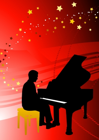 Piano Musician on Abstract Red Background Original Illustration Vector