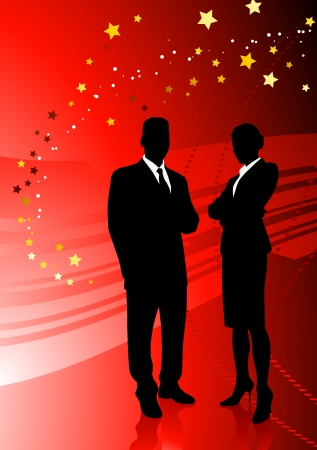 Business Couple on Abstract Red Background Original Illustration Vector