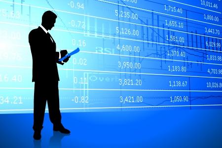 Businessman on Stock Market BackgroundOriginal Illustration