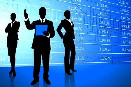 Business Team on Stock Market BackgroundOriginal Illustration
