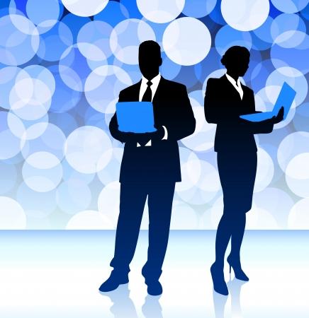 Business Couple on Blue Lens Flare Background Original Illustration