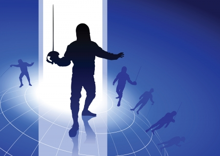 fencing wire: Fencing Sport on Wire Globe Background Original Illustration
