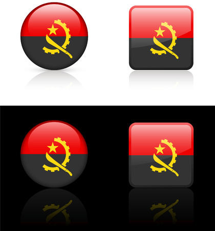 Angola Flag Buttons on White and Black Background