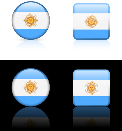 Argentina Flag Buttons on White and Black   Иллюстрация
