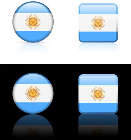 argentina flag: Argentina Flag Buttons on White and Black   Illustration