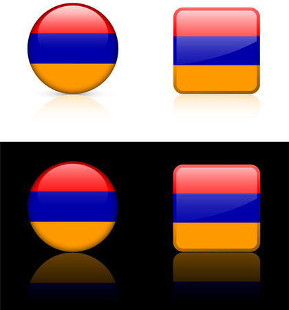 Armenia Flag Buttons on White and Black Background   Vector