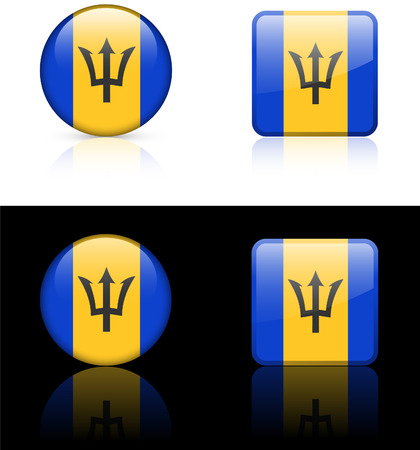 Barbados Flag Buttons on White and Black Background Original Illustration AI8 Compatible
