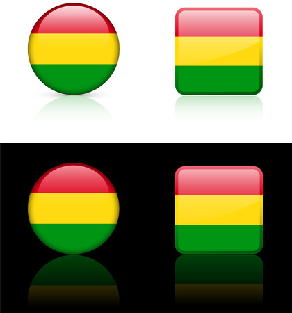 Bolivia Flag Buttons on White and Black Background Original  Illustration AI8 Compatible