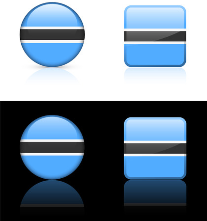 compatible: Botswana Flag Buttons on White and Black Background OriginalIllustration AI8 Compatible