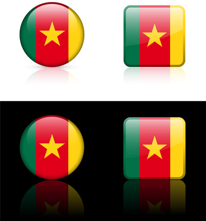 Cameroon Flag Buttons on White and Black Background Original  Illustration AI8 Compatible  Vector