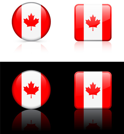 Canada Flag Buttons on White and Black Background Stock Vector - 22373300