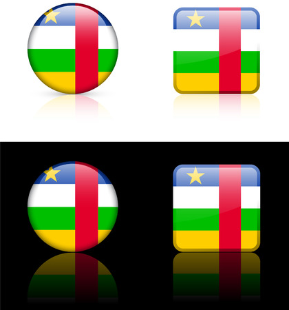 Central African Republic Flag Buttons on White and Black Background  Vector