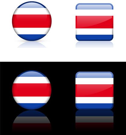 rican: Bandera de Costa Rica botones en blanco y Negro