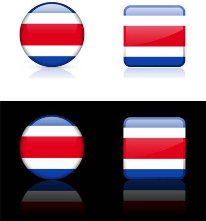Costa Rica Flag Buttons on White and Black
