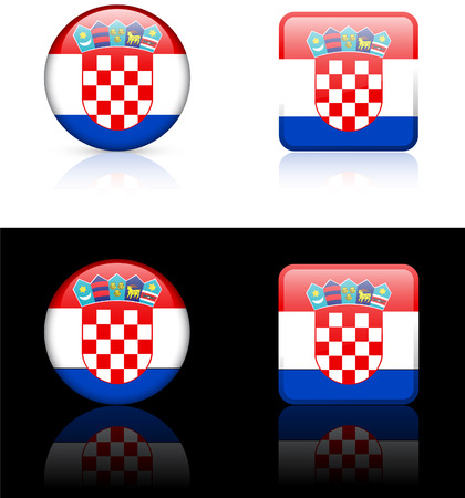 Croatia Flag Buttons on White and Black Background   Vector