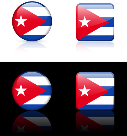 cuban flag: Cuba Flag Buttons on White and Black Background