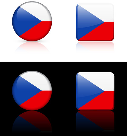 czech republic Flag Buttons on White and Black Background  向量圖像