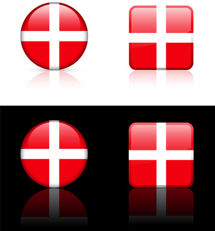 Denmark Flag Buttons on White and Black Background   Vector