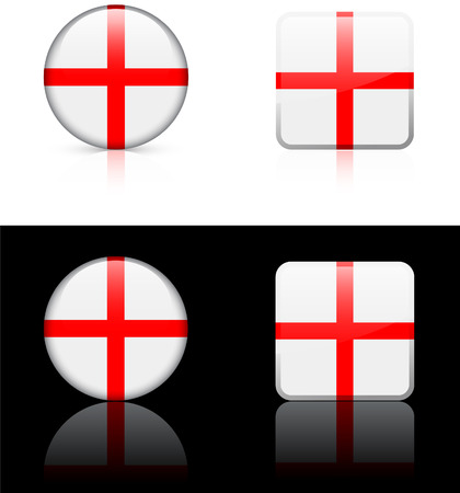 England Flag Buttons on White and Black Background   Vector