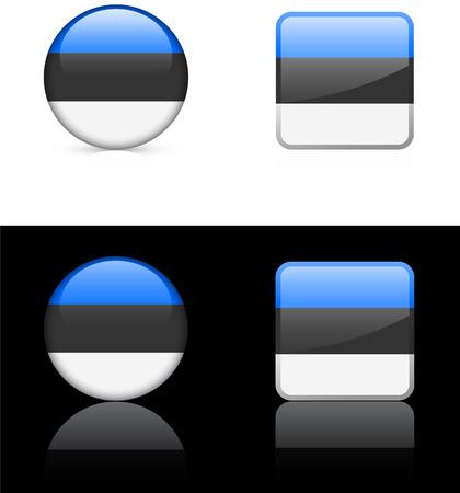 白と黒の背景の上エストニア国旗ボタン