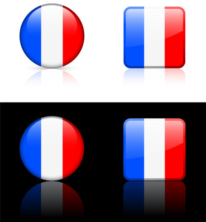 french flag: France Flag Buttons on White and Black Background  Illustration