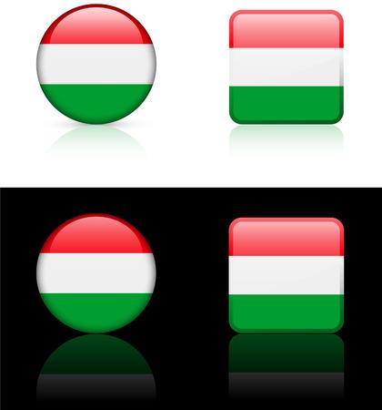 Hungary Flag Buttons on White and Black Background   Illusztráció