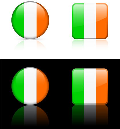 ireland flag: Ireland Flag Buttons on White and Black Background