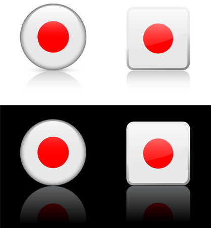 Japan vlag knoppen op witte en zwarte achtergrond