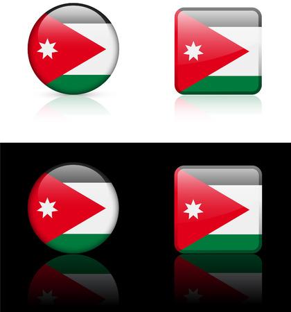 Jordanië vlag knoppen op witte en zwarte achtergrond Stock Illustratie