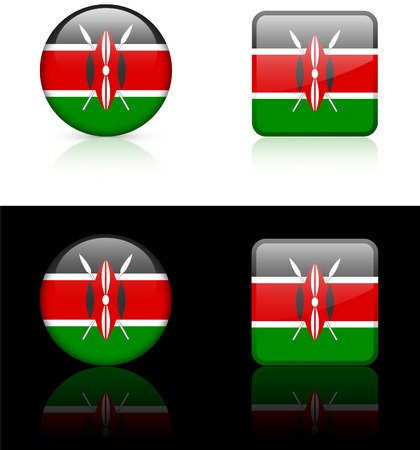 kenya: Kenya Flag Buttons on White and Black Background   Illustration