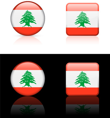 lebanon Flag Buttons on White and Black Background   Vector