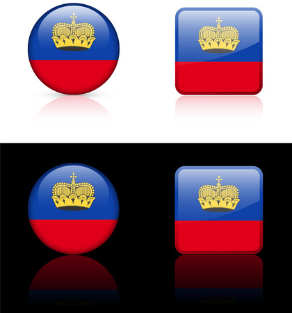 liechtenstein Flag Buttons on White and Black Background  Vector