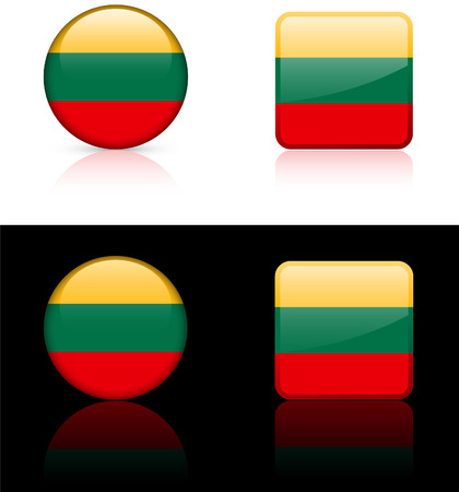lithuania flag: Lithuania Flag Buttons on White and Black Background  Illustration