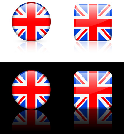 British Flag Buttons on White and Black Background   Vector