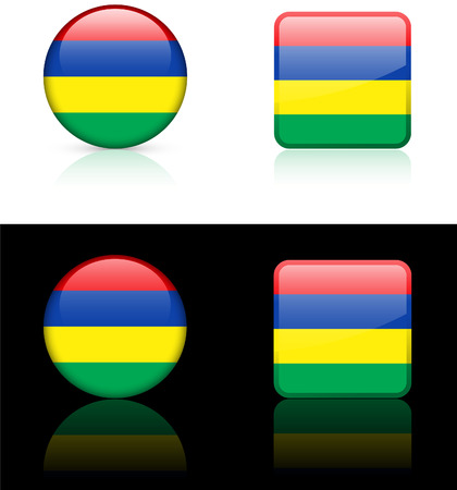 Mauritius Flag Buttons on White and Black Background Original Vector Illustration