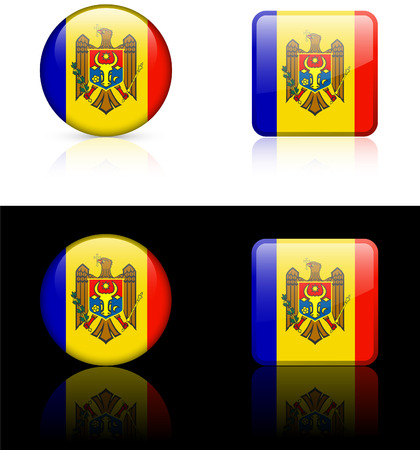Moldova Flag Buttons on White and Black Background   Vector