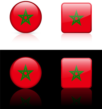 morroco Flag Buttons on White and Black Background