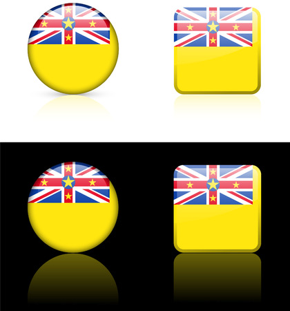 niue: niue Flag Buttons on White and Black Background   Illustration